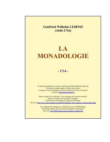 LA MONADOLOGIE - Les Classiques des sciences sociales - UQAC