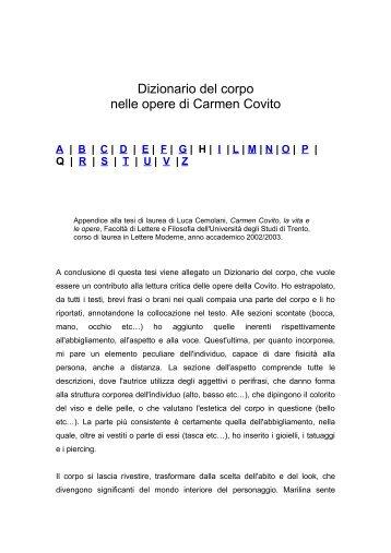 Dizionario del corpo nelle opere di Carmen Covito