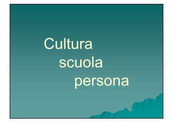 Cultura scuola e persona - ICFAEDIS.it