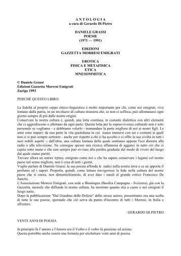 Daniele Grassi Antologia poetica - tutto su morra de sanctis