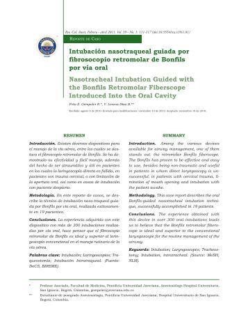 Intubación nasotraqueal guiada por fibrosocopio ... - SciELO Colombia