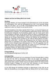Aufgaben und Ziele der Stiftung Hilfe für die Familie Gründung ...