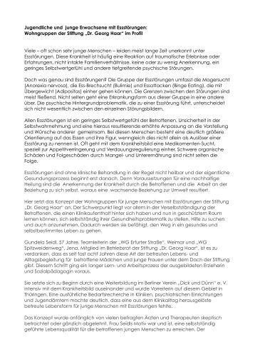 WGs für Essstörungen im Profil - Stiftung »Dr. Georg Haar
