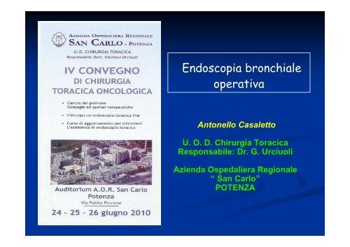 Broncoscopia operativa - Ospedale San Carlo