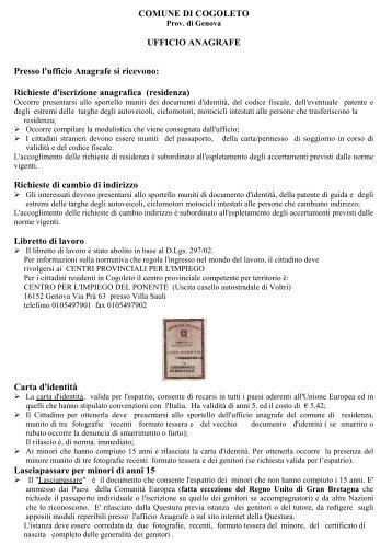 Richieste d'iscrizione anagrafica (residenza) - Comune di Cogoleto