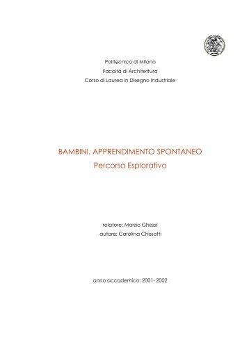 BAMBINI, APPRENDIMENTO SPONTANEO Percorso ... - BAMBINI.it