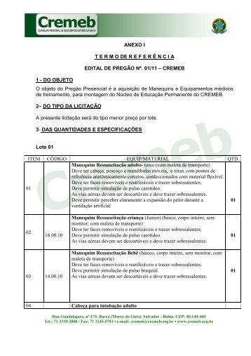 ANEXO I - TERMO DE REFERÊNCIA - PREGÃO 01-11 - MANEQUINS