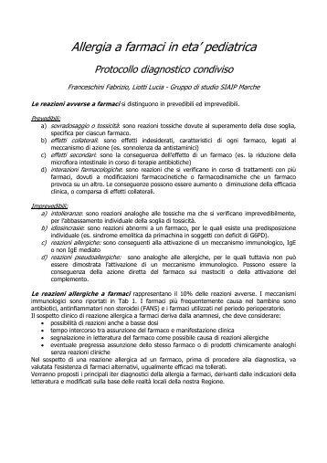Protocollo diagnostico condiviso - SIAIP