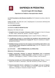 SAPIENZA IN PEDIATRIA - Sapienza - Università di Roma