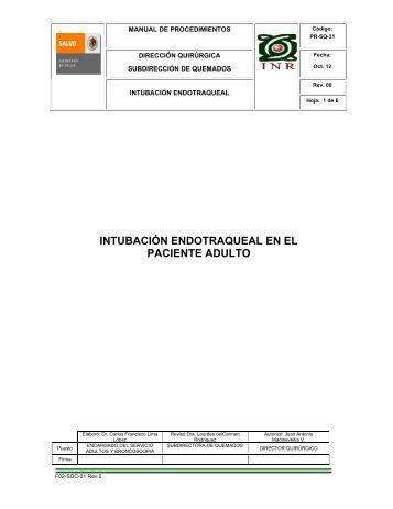 PR-SQ-31 Intubación Endotraqueal en el Paciente Adulto - Inicio