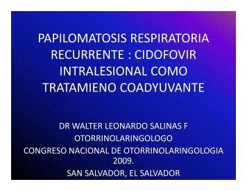 papilomatosis respiratoria recurrente - Medicos de El Salvador