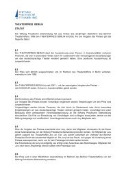 THEATERPREIS BERLIN STATUT - Stiftung Preußische Seehandlung