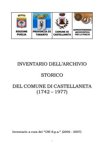 Inventario On-Line: CLICCA QUI - Archivi Storici in rete - Provincia di ...