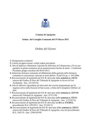 Verbale della seduta del 19 marzo 2013 - Comune di Agrigento