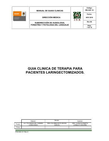 guia clinica de terapia para pacientes laringectomizados. - Inicio