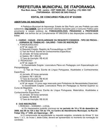 Edital de abertura do concurso - Itaporanga.sp.gov.br