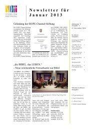 Newsletter für Januar 2013 - Stimme der Hoffnung