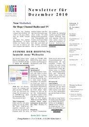Newsletter für Dezember 2010 - Stimme der Hoffnung