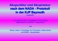 Akupunktur und Akupressur nach dem NADA - Protokoll in - BAG-KJP