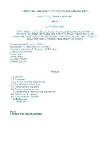 gruppo italiano per lo studio del mieloma multiplo protocollo ...