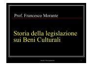 Storia della legislazione sui Beni Culturali - Corso di Storia dell'Arte