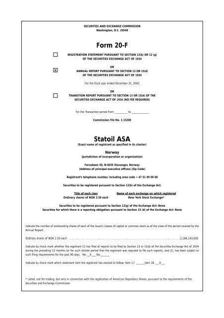 Form 20-F Statoil ASA
