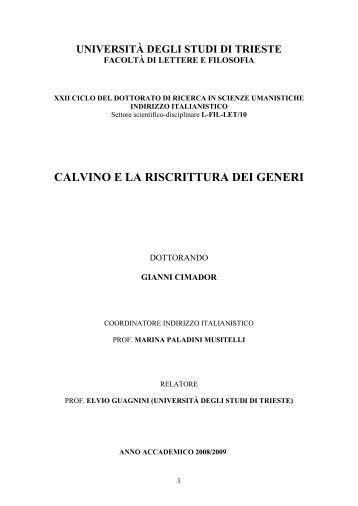 la riscrittura dei generi in calvino - OpenstarTs - Università degli ...