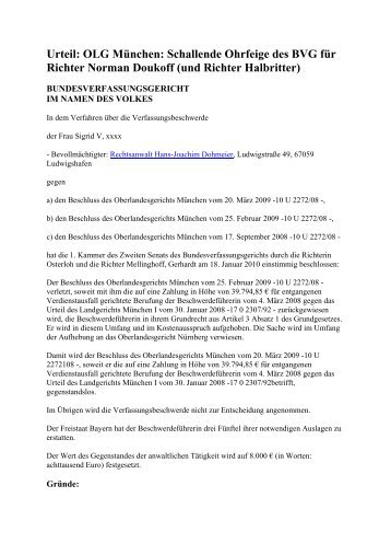 Urteil: OLG München: Schallende Ohrfeige des BVG ... - subvenio e.V.