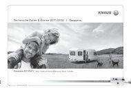 Technische Daten & Preise 2011/2012 | Caravans