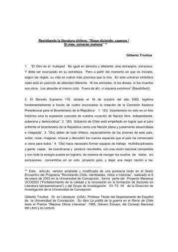 Revisitando la literatura chilena - Universidad de Concepción