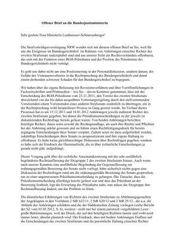 Offener Brief an die Bundesjustizministerin