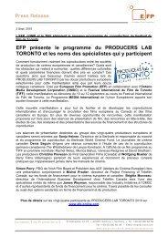 EFP présente le programme du PRODUCERS LAB TORONTO et les ...