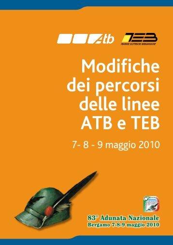 Opuscolo ATB Linee Autobus - Adunata Nazionale Alpini Bergamo