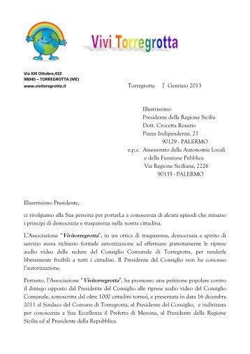 Torregrotta 7 Gennaio 2013 Illustrissimo ... - Vivi Torregrotta