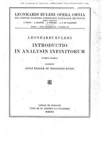 Opera mathematica. Volumen VIII, Leonhardi ... - Wilbourhall.org