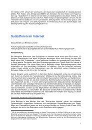 Suizidforen im Internet - Deutsche Gesellschaft für Suizidprävention