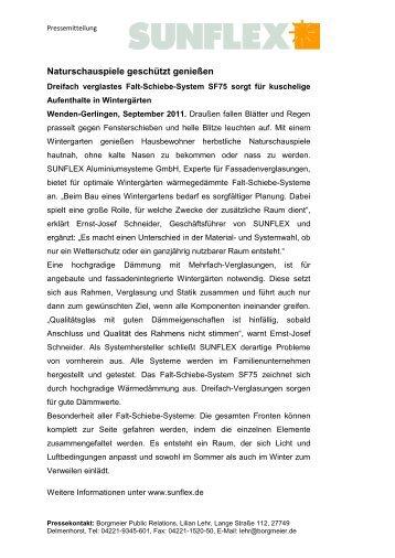 Pressemeldung als PDF (155 KB) - Sunflex Aluminium-Systeme ...