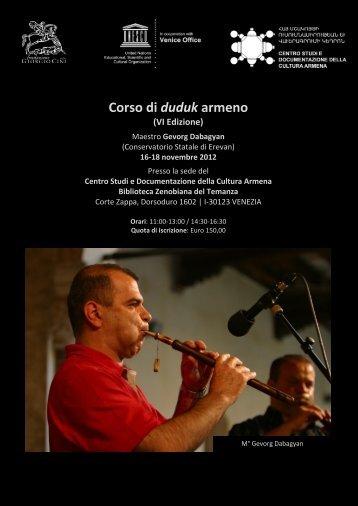 Corso di oboe armeno duduk - Unesco