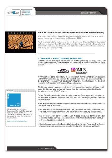 1-2008: Einfache Integration mobiler Mitarbeiter - syfex.com