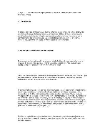 Artigo - O Concubinato e uma perspectiva de inclusão ... - Recivil
