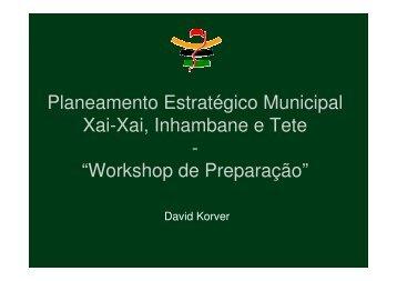Planeamento Estratégico Municipal Xai-Xai, Inhambane ... - Rouxville
