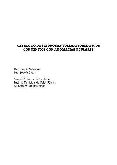 catálogo de síndromes polimalformativos - Agència de Salut Pública ...