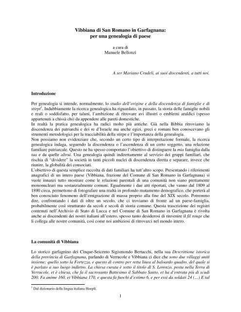 Per una genealogia di paese Vibbiana.pdf - Comune di San ...
