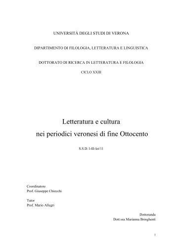 Letteratura e cultura nei periodici veronesi di fine Ottocento
