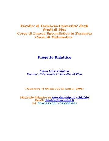 Progetto didattico e programma delle lezioni - Dipartimento di ...