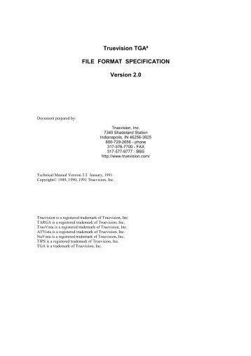 Truevision TGA, File Format Specification, Version 2.0 as - DCA