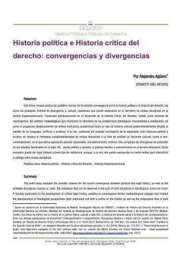 Alejandro Agüero, Historia política e Historia crítica del derecho