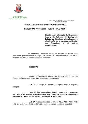 RESOLUÇÃO Nº 005/2003 - TCE/RR - Tribunal de Contas do ...