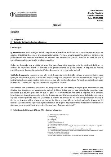 Anual Noturno Direito Tributário Ricardo Alexandre Data: 29/06 ...
