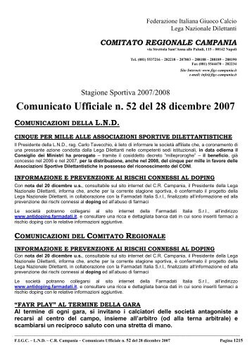 Comunicato Ufficiale n. 52 del 28 dicembre 2007 - Informacalcio.it
